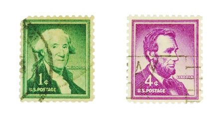 philately: USA, CIRCA 1970  postage stamps depicting presidents George Washington and Abraham Lincoln, CIRCA 1970