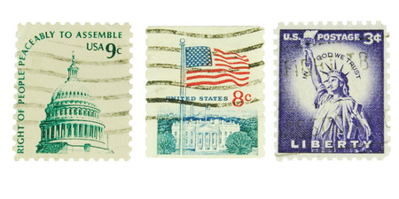 philately: USA, CIRCA 1970  postage stamps depicting the Statue of Liberty, the flag and the Capitol, CIRCA 1970