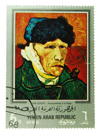 van gogh: Yemen Arab Republic - CIRCA 1971  postage stamp depicting a self portrait of Vincent van Gogh, CIRCA 1971