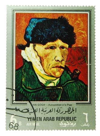 Yemen Arab Republic - CIRCA 1971  postage stamp depicting a self portrait of Vincent van Gogh, CIRCA 1971