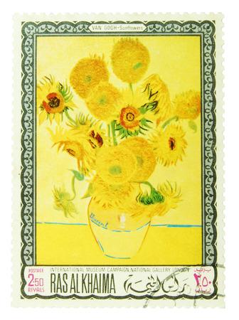 van gogh: Ras al-Khaimah - CIRCA 1960 to 1970  postage stamp depicting  Sunflowers qu ot; - painting by Vincent van Gogh, CIRCA 1960 to 1970  Editorial