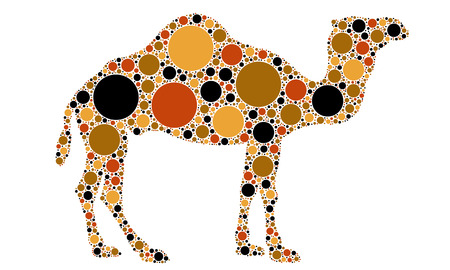 camel silhouette: dotted camel illustration