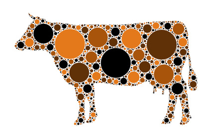 cow silhouette: dotted cow illustration Illustration
