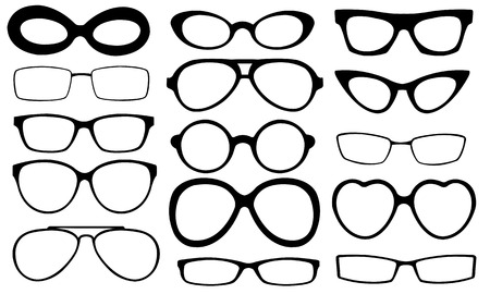 eyeglasses: set of different glasses Illustration