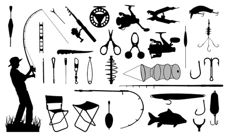 casts: set of different fishing equipment