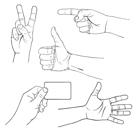 hand signs: set of different hand signs