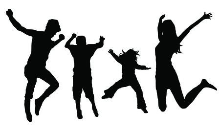 jumping family illustration