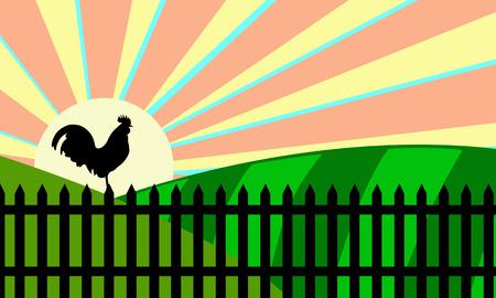 rooster at dawn: Illustrazione di un gallo sulla recinzione