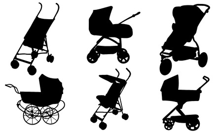 baby stroller: set of different strollers