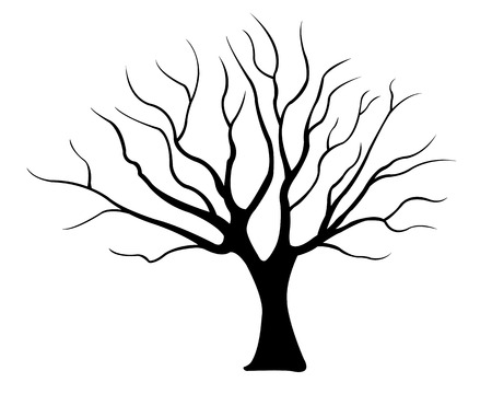 arboles secos: silueta de árbol aislado