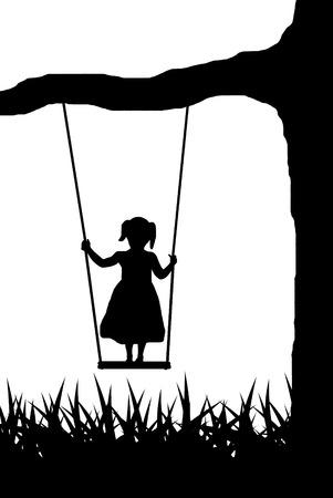 girl on swing Vector