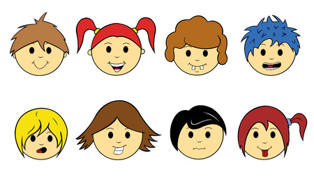 kids faces isolated on white
