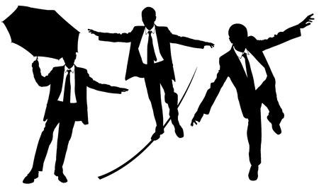 instability: set of different businessmen on rope Illustration