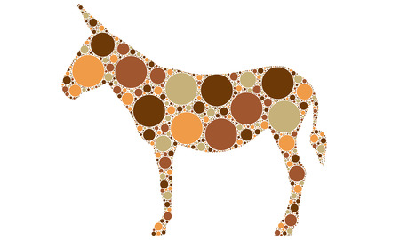 dotted color donkey silhouette Vector
