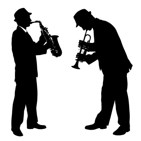 sax: music players silhouette Illustration