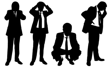 set of worried businessmen