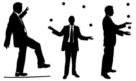 set of businessmen juggling