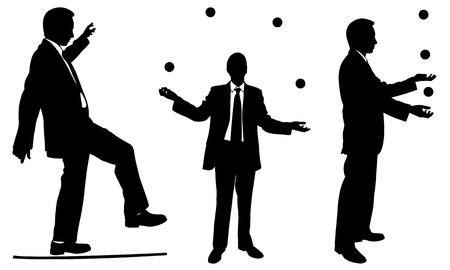 set of businessmen juggling