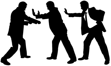 set of silhouette businessmen pushing and pulling Illustration