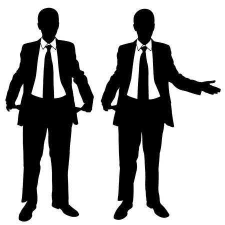 penniless: illustration of broke businessmen Illustration
