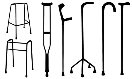 crutches: set of different crutches isolated
