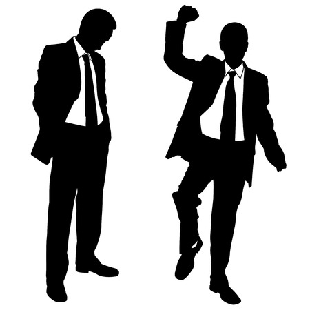 unsuccessful: silhouettes of winner and loser