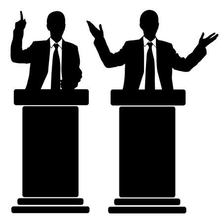 silhouettes of men speaking from tribunes