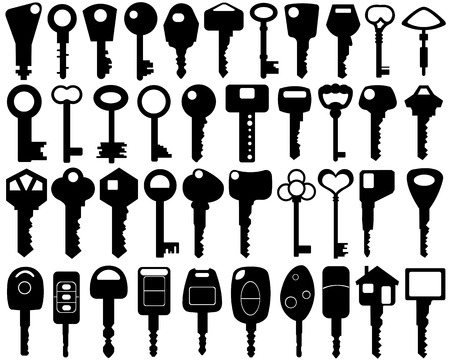 set of different keys isolated Vector