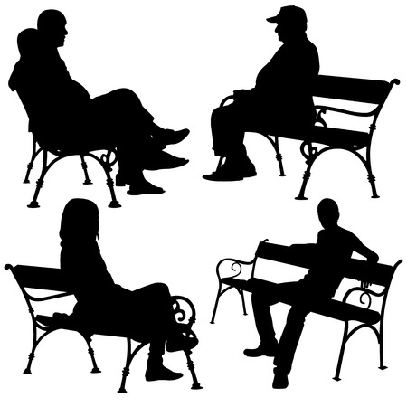seated: people on benches isolated Illustration