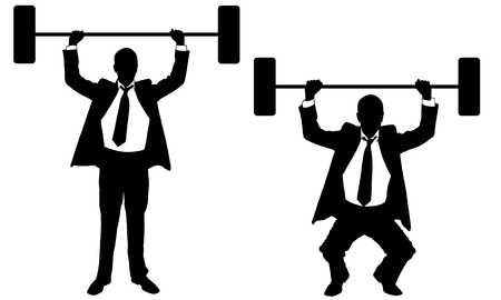 crouch: businessmen lifting weights