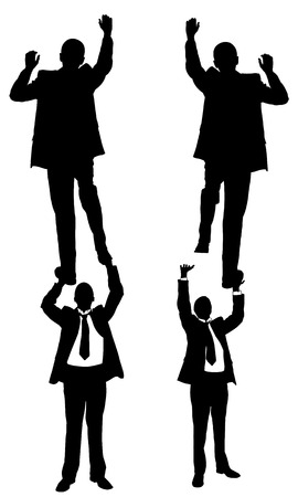 eachother: businessmen climbing on eachother