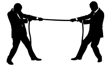 ロープの引きのビジネスマン