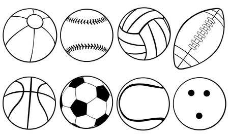 set of different game balls