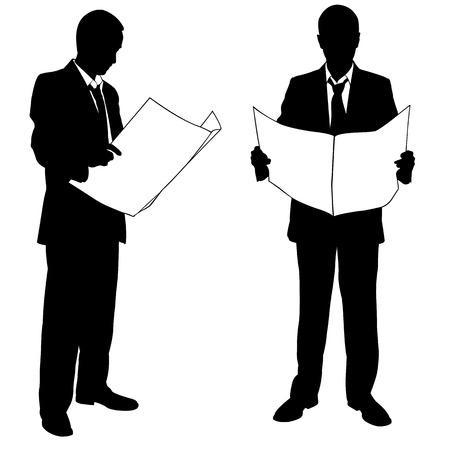 reading newspaper: businessmen reading the newspaper Illustration
