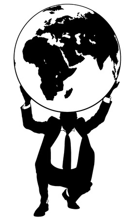 hand lifting weight: businessman holding the earth globe Illustration