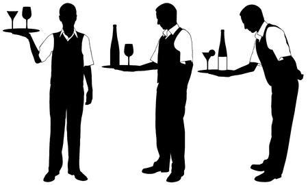 camarero: conjunto de camareros con bandejas Vectores
