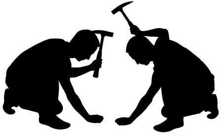 with hammers: silhouettes of people with hammers Illustration