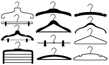 hangers: set of different hangers isolated