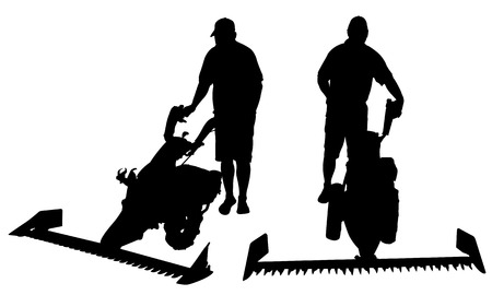 mowers: people with mowers isolated on white Illustration