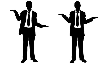 businessman suit: businessmen weighing with their hands