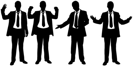 set of businessmen gesturing 向量圖像