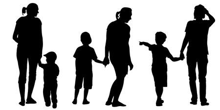 set van de moeders met kinderen Stock Illustratie