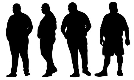 overweight: set of fat people silhouettes