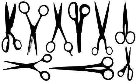 shear: set of different scissors Illustration
