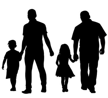 niños caminando: padres con niños aislados en blanco
