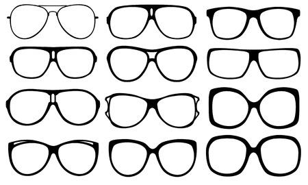 corrective lenses: set of different eyeglasses frames