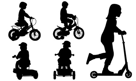 scooters: set of kids on bikes