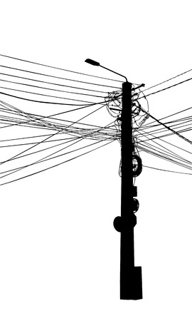 illustration of a pole with electric lines
