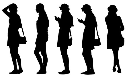 girl at phone: set of teenage girls silhouettes Illustration