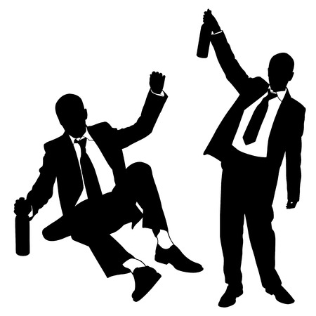 silhouettes of drunk men Çizim